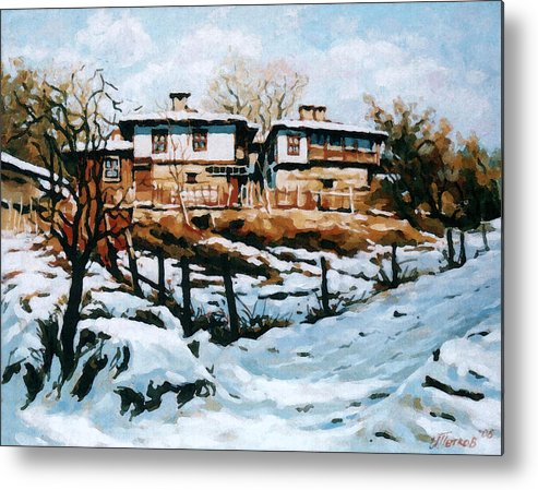 Landscape Metal Print featuring the painting A Village In Winter by Iliyan Bozhanov