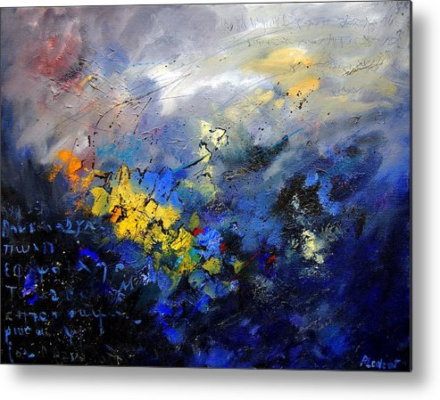 Abstract Metal Print featuring the painting Abstract 970208 by Pol Ledent