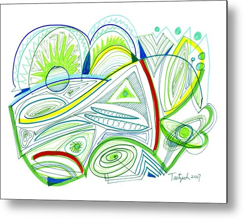 Abstract Metal Print featuring the drawing Abstract Pen Drawing Thirty-two by Lynne Taetzsch