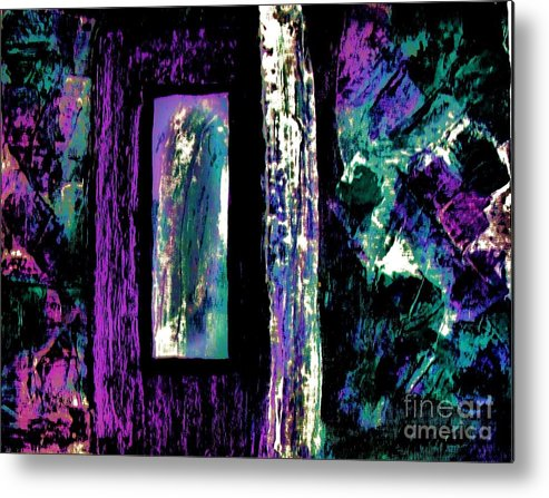 Painting Metal Print featuring the painting Abstract Purple Door by Marsha Heiken
