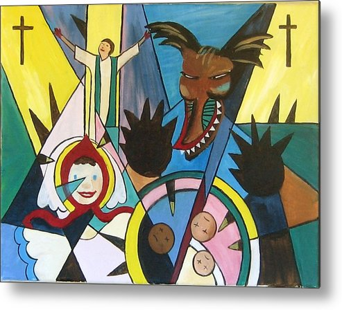 Cubism Metal Print featuring the painting Abuse by Art Nomad Sandra Hansen
