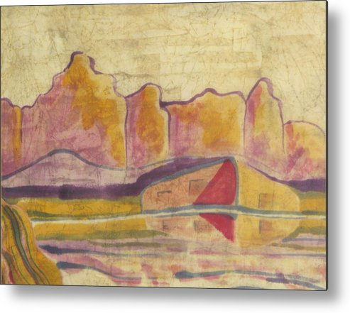New Mexico Landscape Metal Print featuring the painting Adobe Reflections by Kathy Mitchell
