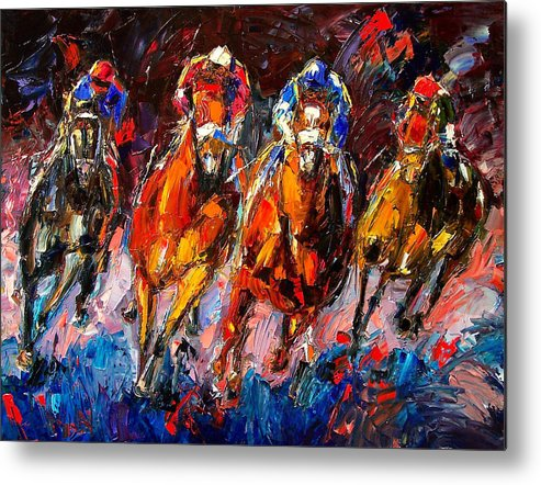 Horse Race Metal Print featuring the painting Adrenaline by Debra Hurd