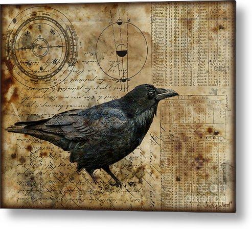 Raven Metal Print featuring the digital art Almanac by Judy Wood