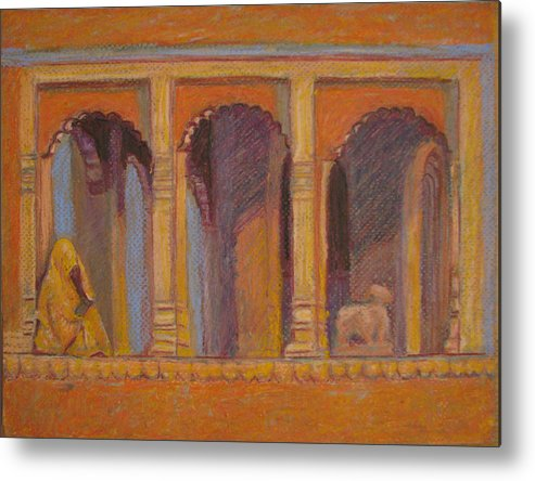 God Metal Print featuring the painting Alone Or With God by Art Nomad Sandra Hansen
