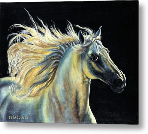 Horse Metal Print featuring the painting Amour D Etalon by Josette SPIAGGIA