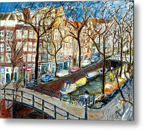 Cityscape Amsterdam Canal Trees Bridge Bicycle Water Sky Netherlands Boats Metal Print featuring the painting Amsterdam Canal by Joan De Bot