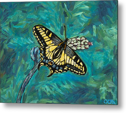 Metal Print featuring the painting Anise Swallowtail by Steve Lawton