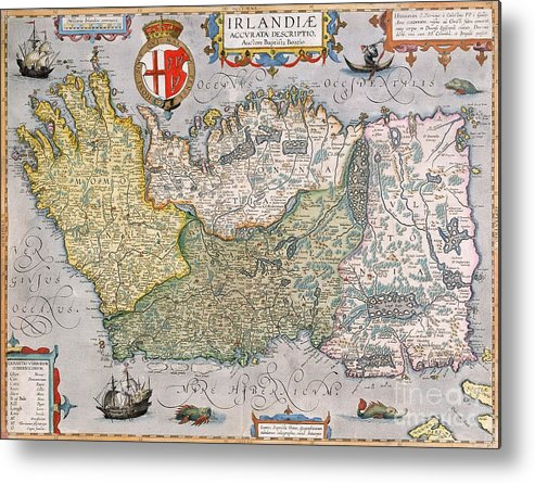 Print Map Of Ireland.Antique Map Of Ireland Metal Print
