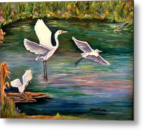 Egrets Metal Print featuring the painting Arabesque by Carol Allen Anfinsen