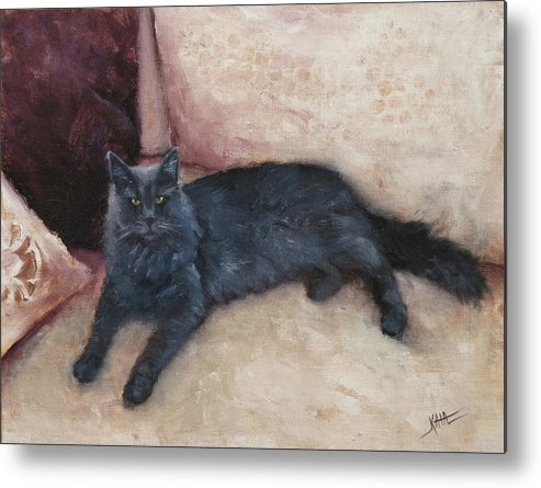 Cat Metal Print featuring the painting Aries by Kaia Thomas