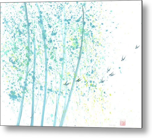 Birds Flying Through An Aspen Forest. This Is A Contemporary Chinese Ink And Color On Rice Paper Painting With Simple Zen Style Brush Strokes. Metal Print featuring the painting Aspen Forest by Mui-Joo Wee