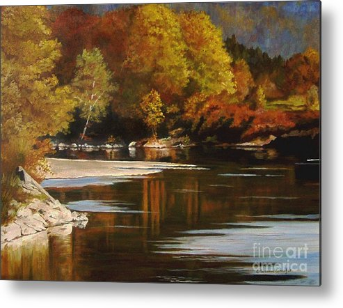 Scene Metal Print featuring the painting Autumn Along The Stillaguamish by Suzanne Schaefer