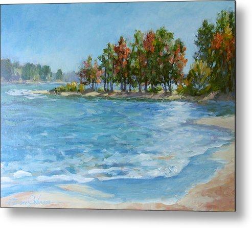 North Carolina Lake Metal Print featuring the painting Autumn Shores - Jordan Lake by L Diane Johnson