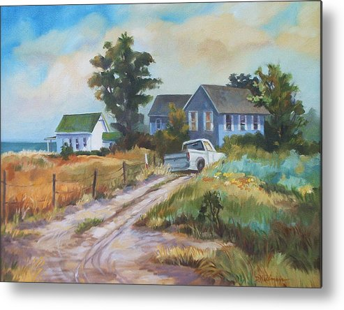 Landscape Metal Print featuring the painting Back Road By The Bay by Dianna Willman