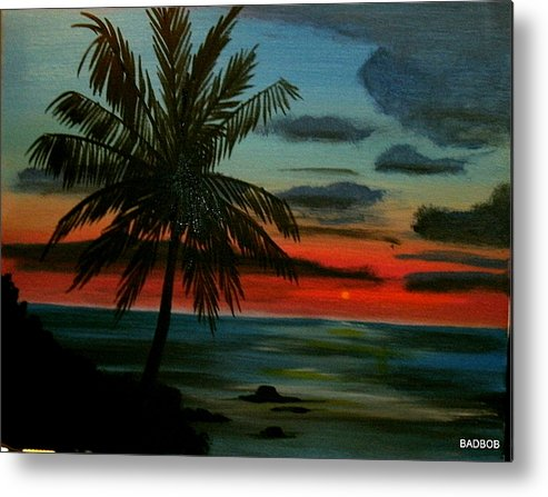 Palm Trees Metal Print featuring the painting Badtpalm by Robert Francis