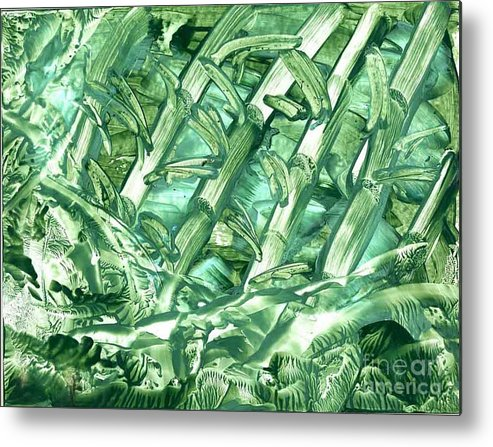 Abstract Metal Print featuring the painting Bamboo Forest by Heather Hennick
