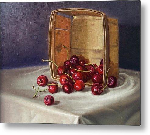 Still Life Metal Print featuring the painting Basket Of Cherries by Arnold Hurley
