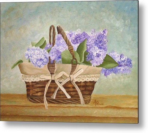 Lilacs Art Metal Print featuring the painting Basket Of Lilacs by Angeles M Pomata