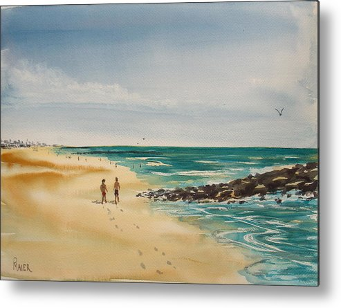 Seascape Metal Print featuring the painting Beach Walk by Pete Maier