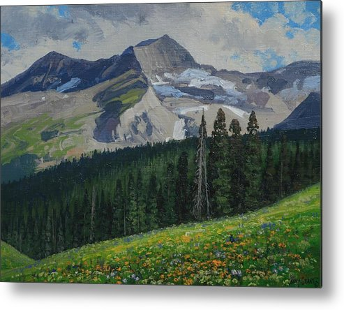 Landscape Metal Print featuring the painting Bear Peak by Lanny Grant