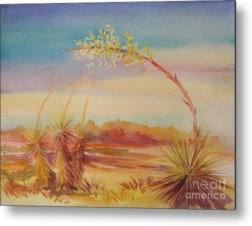 Desert Metal Print featuring the painting Bending Yucca by Summer Celeste
