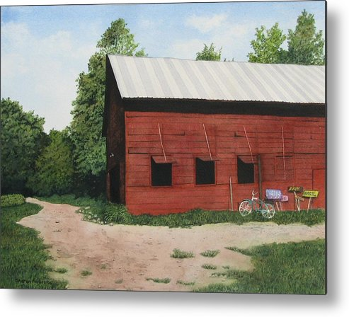 Landscape Metal Print featuring the painting Big Red Barn by Sharon Farber