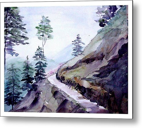 Landscape Metal Print featuring the painting Blue Hills by Anil Nene
