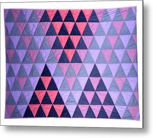 Fabric Metal Print featuring the tapestry - textile Blue Triangles by Mildred Thibodeaux
