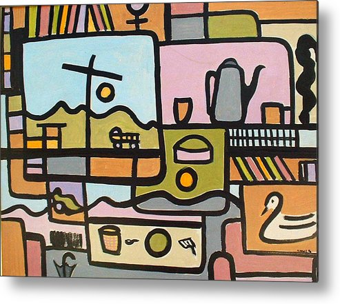 Abstract Metal Print featuring the painting Book Case by Michael Keogh