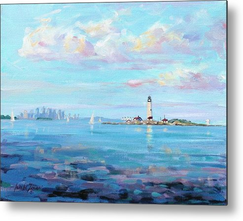 Seascape Metal Print featuring the painting Boston Skyline by Laura Lee Zanghetti