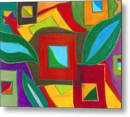Abstract Drawings Metal Print featuring the drawing Boxesleaves2 by Katina Cote
