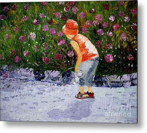 Boy Metal Print featuring the painting Boy Smeling Flowers by Inna Montano