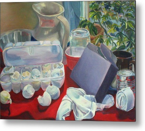 Still Life Metal Print featuring the painting Breakfast Tablescape by Stephanie Allison