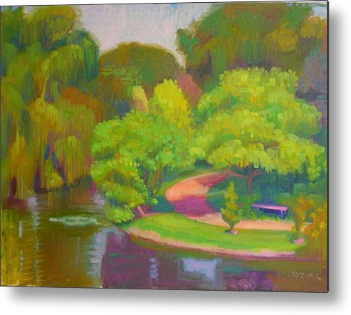 Landscape Metal Print featuring the painting Bright Hazy Day Chicago Botanical Gardens by David Dozier
