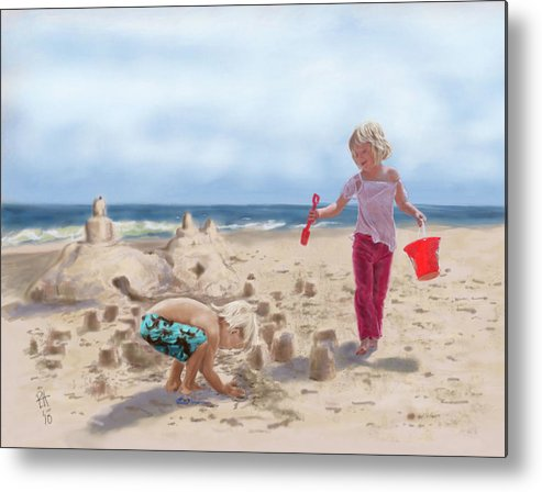 Beach Metal Print featuring the painting Builders On The Beach by Peggy Hickey