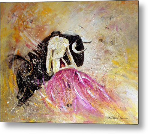 Animals Metal Print featuring the painting Bullfight 74 by Miki De Goodaboom