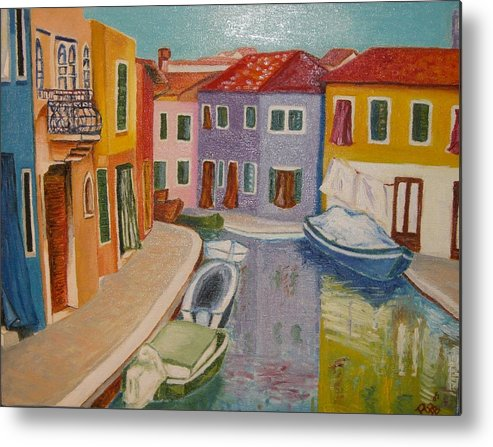 Burano Metal Print featuring the painting Burano by Rita Bandinelli
