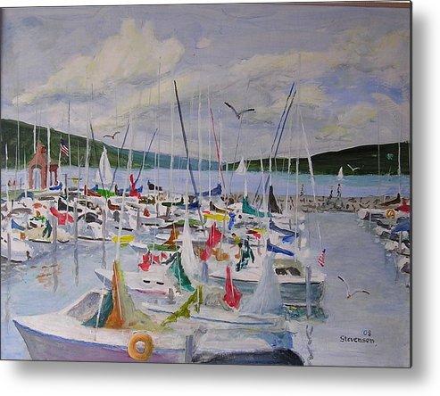 Seneca Lake Boats Metal Print featuring the painting Busy Harbor by Joseph Stevenson