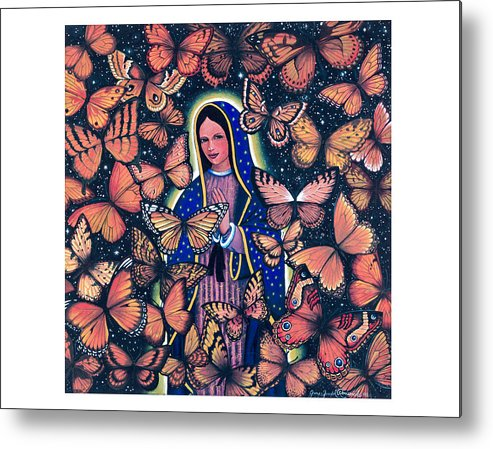 Guadalupe Metal Print featuring the painting Butterfly Glow by James RODERICK