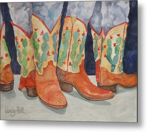 Boots Metal Print featuring the painting Cactus Boots by Wendy Hill