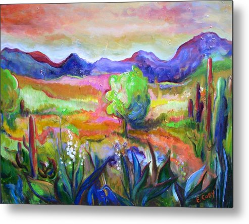 Landscape Metal Print featuring the painting Cactus Spring by Elaine Cory