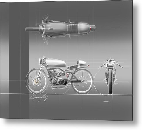 Hot Rod Metal Print featuring the drawing Cafe Racer by Jeremy Lacy