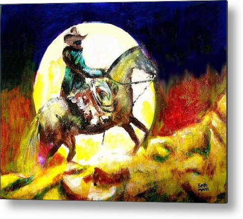 Canyon Moon Metal Print featuring the painting Canyon Moon by Seth Weaver