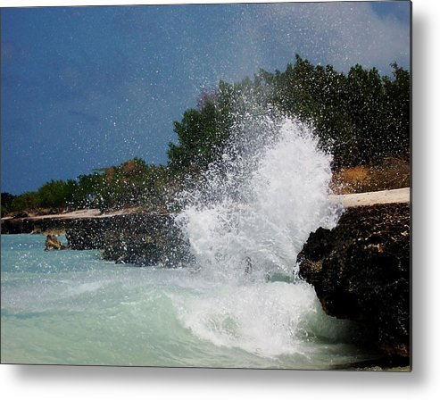 Ocean Metal Print featuring the photograph Caribe Splash by James Harper