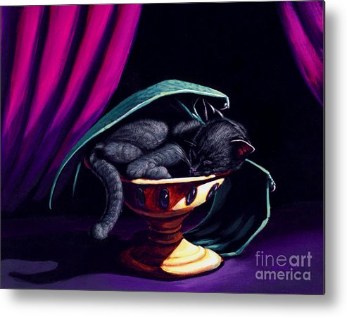 Cat Metal Print featuring the painting Catabat Nap by Stanley Morrison