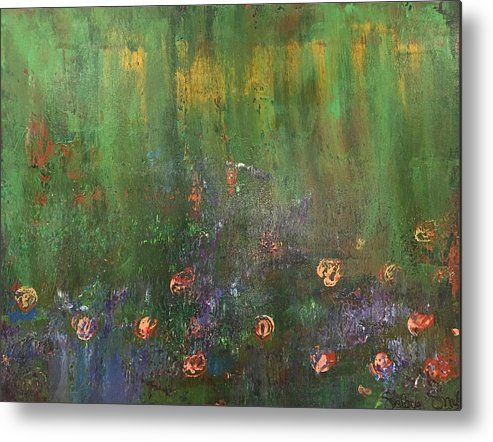 Flowers Metal Print featuring the painting Channeling Monet #2 by Selena Smith