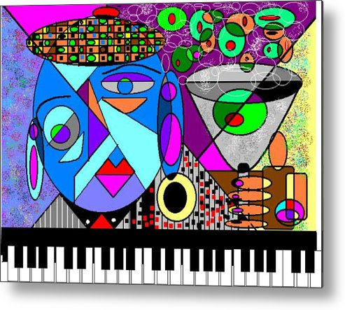 Music Metal Print featuring the digital art Cheers2 by George Pasini