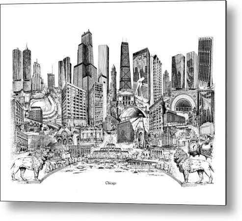 City Drawing Metal Print featuring the drawing Chicago by Dennis Bivens