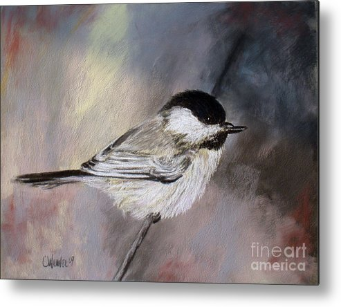 Chickadee Metal Print featuring the painting Chickadee by Cathy Weaver